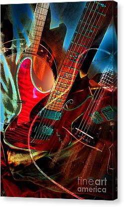 Triple Header Digital Banjo And Guitar Art By Steven Langston Canvas Print by Steven Lebron Langston