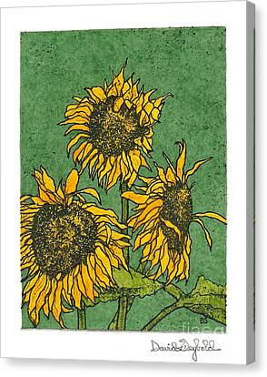 Triple Sunflowers Etching With Full Background Canvas Print
