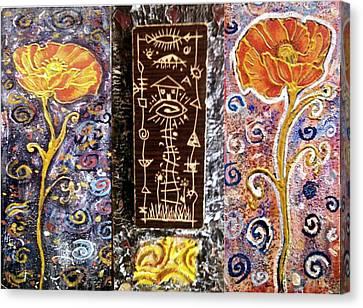Triptih House In The Flowers Canvas Print by Branko Jovanovic