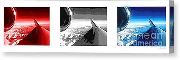 Canvas Print featuring the photograph Red White Black An White Blue An White Jet Pop Art Planes. by R Muirhead Art