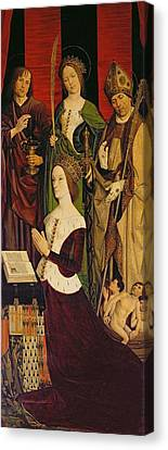 Triptych Of Moses And The Burning Bush, Right Panel Depicting Jeanne De Laval D.1498 With St. John Canvas Print by Nicolas Froment