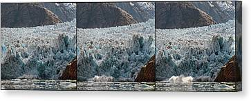 Triptych Of Sawyer Glacier, Southeast Canvas Print by Panoramic Images