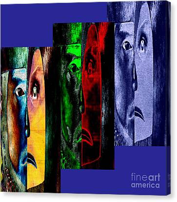 Triptychon Paerchen II - Triptych Couple II Canvas Print by Mojo Mendiola