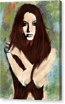 Canvas Print featuring the digital art Tristesse by Galen Valle