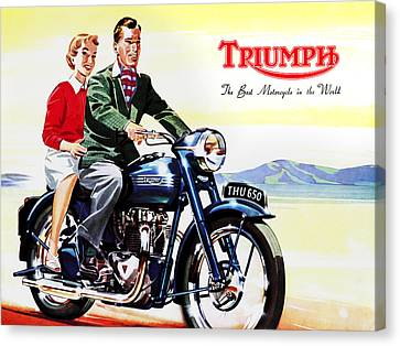 Vintage Canvas Print - Triumph 1953 by Mark Rogan