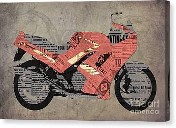 Triumph Daytona 1000 1992 And Red News, Man Cave Decoration Canvas Print