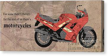 Triumph Daytona 1000 1992 Collage - Motorcycles Quote Canvas Print by Pablo Franchi