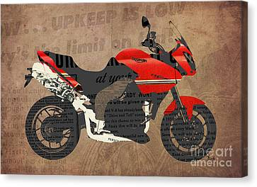 Triumph Motorcycle And The News Canvas Print