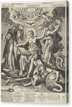 Triumph Of Truth, Monogrammist Cr 16e Eeuw Canvas Print by Hieronymus Wierix And Joanni Medic