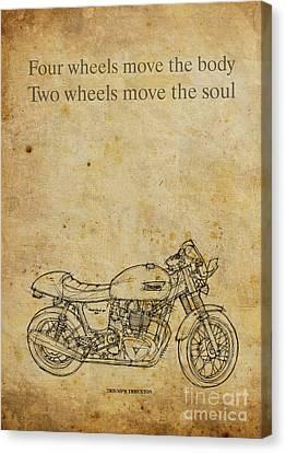Triumph Thruxton - Motorcycle Quote Canvas Print by Pablo Franchi
