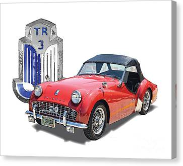 1950s Portraits Canvas Print - Triumph Tr-3 by Dan Knowler