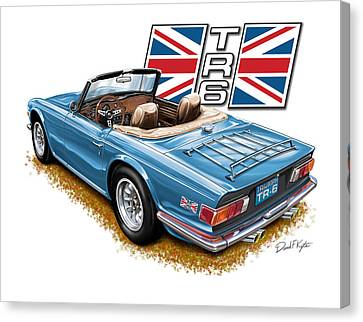 Triumph Tr-6 In French Blue Canvas Print by David Kyte