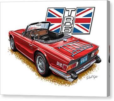 Triumph Tr-6 Red Wire Wheels Canvas Print by David Kyte
