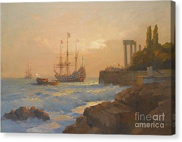 Triumphant Ship Approaching The Harbour Canvas Print by Celestial Images