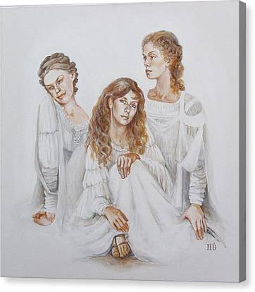 Canvas Print featuring the painting Trois by Marina Gnetetsky