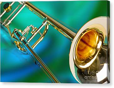 Trombone Against Green And Blue In Color 3204.02 Canvas Print by M K  Miller