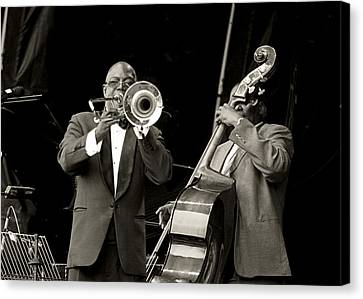 Trombone And Bass Canvas Print by Tony Reddington