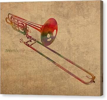 Trombone Brass Instrument Watercolor Portrait On Worn Canvas Canvas Print by Design Turnpike
