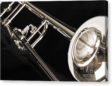 Trombone On Black Black And White Sepia Color 3204.03 Canvas Print
