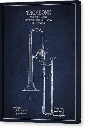 Trombone Patent From 1902 - Blue Canvas Print by Aged Pixel