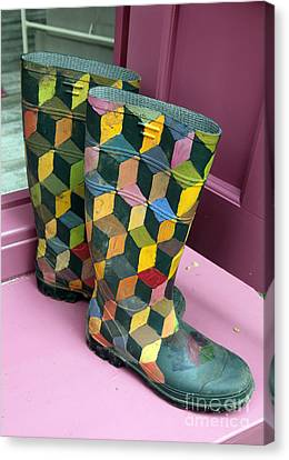 Trompe Loeil Wellington Boots Canvas Print by Ros Drinkwater