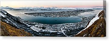 Tromso From The Mountains Canvas Print by Dave Bowman
