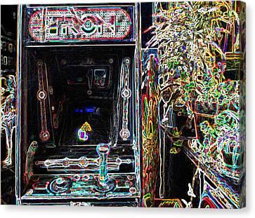 Tron Canvas Print - Tron Arcade Machine - Neon Enhanced by David Lovins