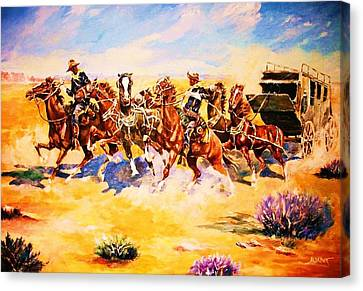 Troopers Stopping A Runaway Coach Canvas Print by Al Brown