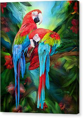 Tropic Spirits - Macaws Canvas Print by Carol Cavalaris