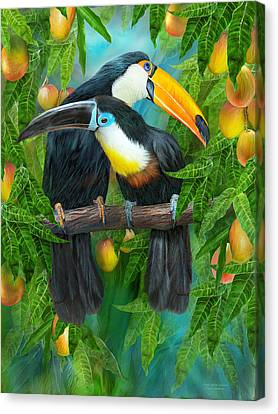 Mango Canvas Print - Tropic Spirits - Toucans by Carol Cavalaris