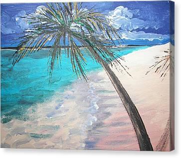 Tropical Beach Canvas Print by Judy Via-Wolff