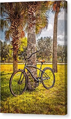 Tropical Bicycle Canvas Print by Debra and Dave Vanderlaan