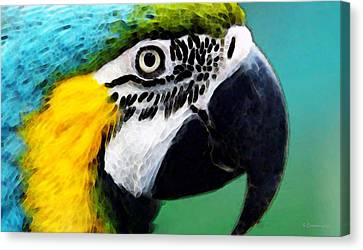 Tropical Bird - Colorful Macaw Canvas Print by Sharon Cummings