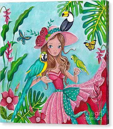 Flower Pink Fairy Child Canvas Print - Tropical Bird Love by Caroline Bonne-Muller