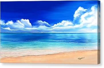 Canvas Print featuring the drawing Tropical Blue by Anthony Fishburne
