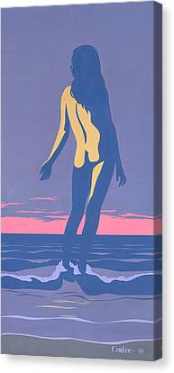 Tropical Exotic Nude Surf Sunset Tasteful Original Pop Art Nouveau 80s Painting Purple Pink Canvas Print by Walt Curlee