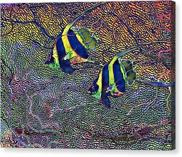 Canvas Print featuring the painting Coral Reef Tropical Fish Colorful Water Art by David Mckinney