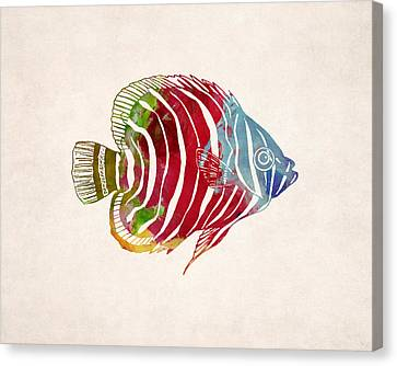 Tropical Fish Drawing Canvas Print by World Art Prints And Designs