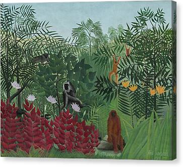 Ape Canvas Print - Tropical Forest With Monkeys by Henri J F Rousseau