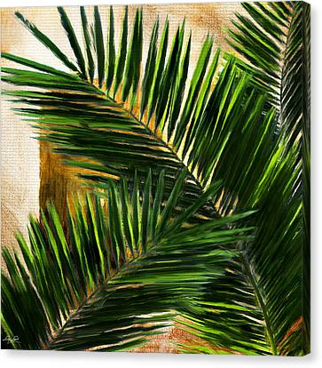 Tropical Leaves Canvas Print by Lourry Legarde