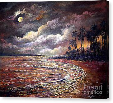 Canvas Print featuring the painting Tropical Moon by Lou Ann Bagnall