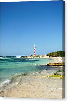Tropical Seascape With Lighthouse Canvas Print