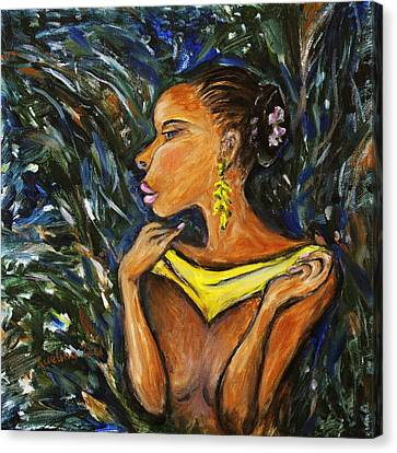 Canvas Print featuring the painting Tropical Shower by Xueling Zou