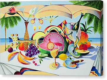 Tropical Still Life For A Cuban Cubist Canvas Print by Andrew Hewkin