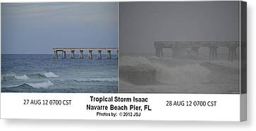 Tropical Storm Isaac Difference In A Day Canvas Print by Jeff at JSJ Photography