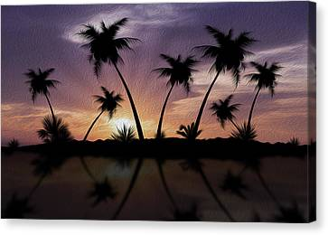 Tropical Sunset Canvas Print by Aged Pixel