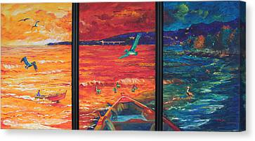 Tropical Trance Triptych Canvas Print by Estela Robles Galiano