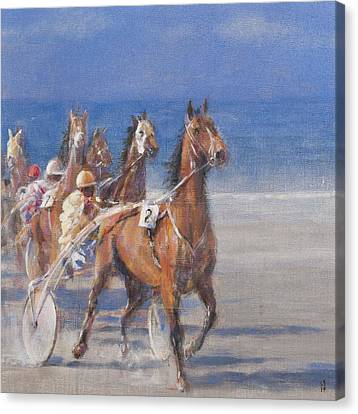 Trotting Races, Lancieux, Brittany, 2014 Oil On Canvas Canvas Print by Lincoln Seligman