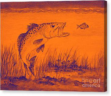 Trout Attack 2 In Orange Canvas Print by Bill Holkham