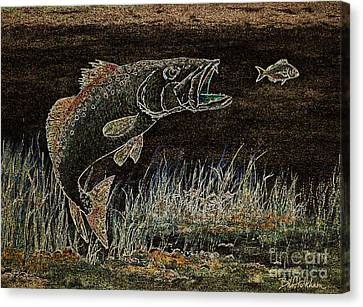 Trout Attack 3 In Brown And Gold Canvas Print by Bill Holkham